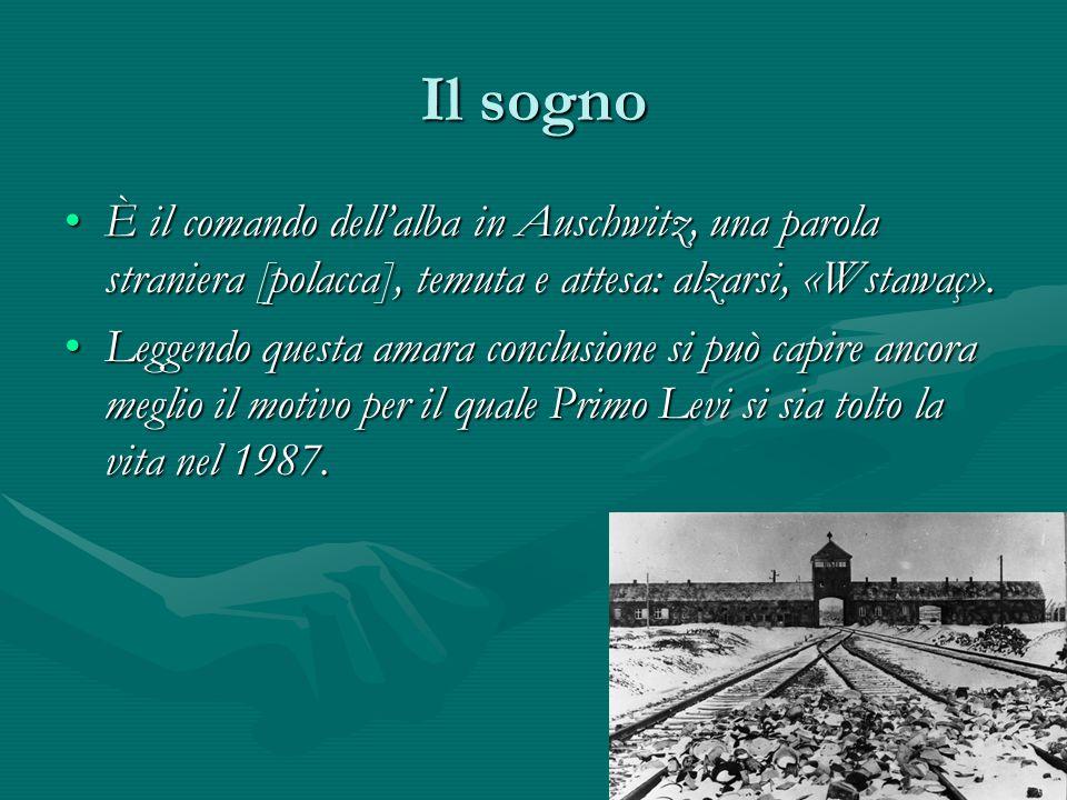 Il sogno È il comando dell'alba in Auschwitz, una parola straniera [polacca], temuta e attesa: alzarsi, «Wstawaç».